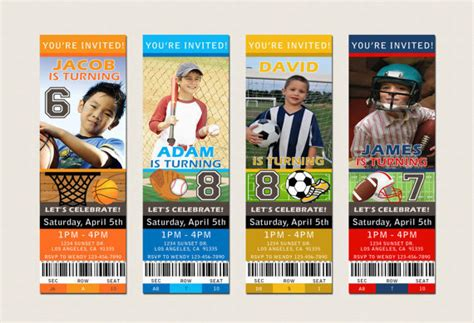 sports ticket invitation template 6 best images of sports ticket templates free printable