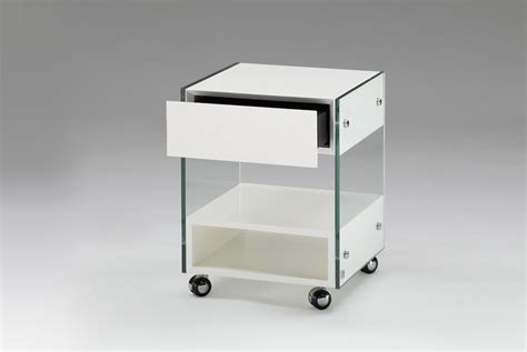 bedside table on wheels glass lacquer desk storage bedside table on wheels