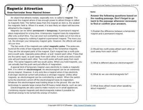 4th Grade Reading Comprehension Worksheets With Answers by Magnetic Attraction 4th Grade Reading Comprehension