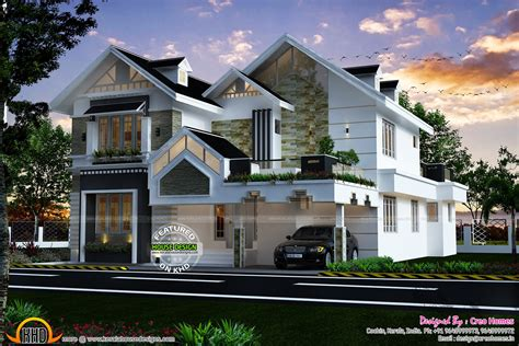 kerala sloped roof home design kerala home design and floor plans with awesome modern