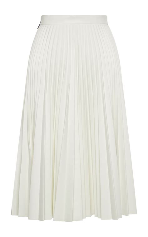 msgm white faux leather pleated skirt in white lyst