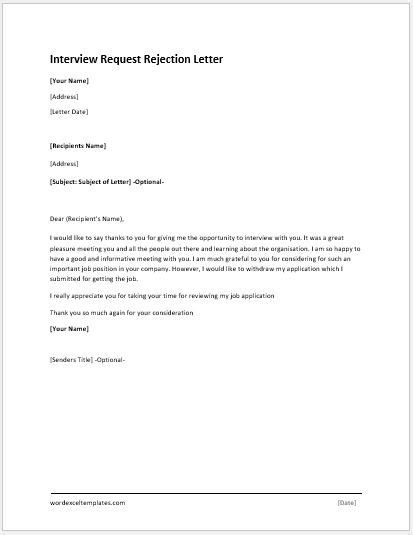 interview request rejection letter word excel templates