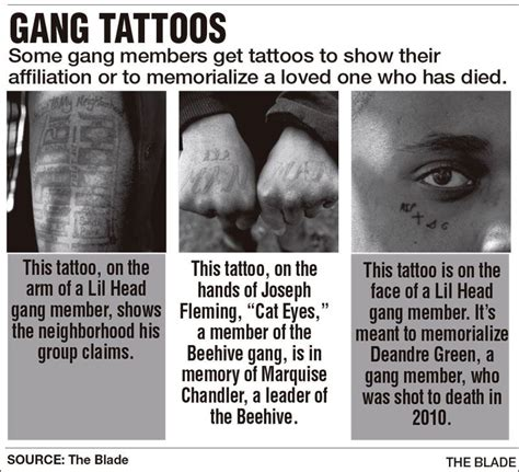 gang tattoos meaning tattoos honor gangs the fallen and the hustle toledo blade