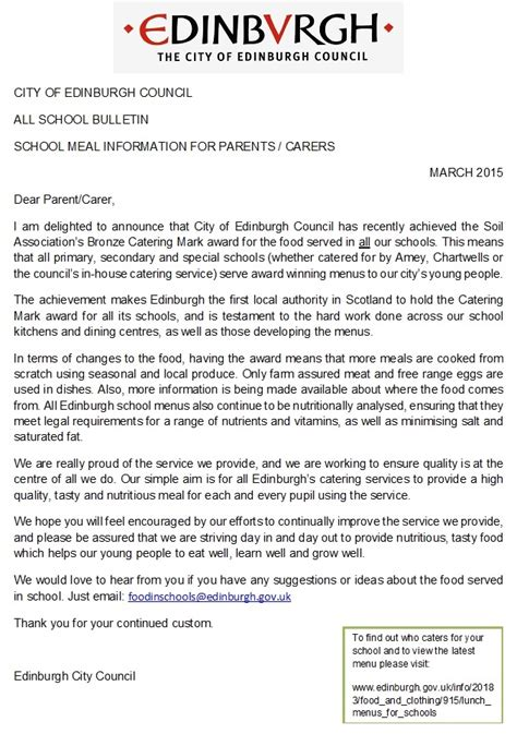 Letter Menu School Lunches Info From Edinburgh Council Dean Park Primary School