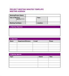 project meeting minutes template sle project meeting minutes template 9 free