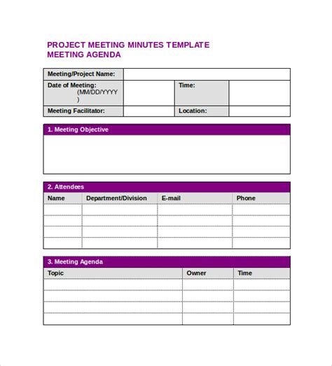 meeting notes template word sle project meeting minutes template 9 free