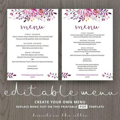 menu card template pdf printable menu cards do it yourself diy card template