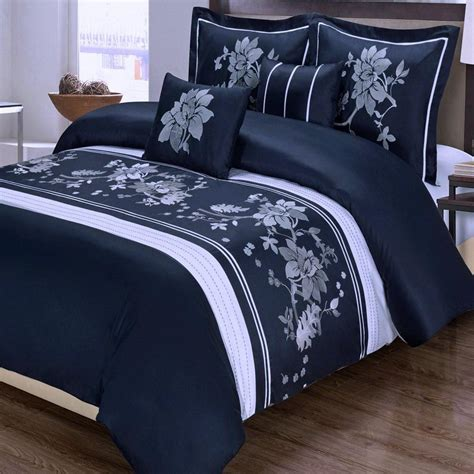 navy blue and white comforter sets modern navy blue white cotton 5pc duvet cover set online