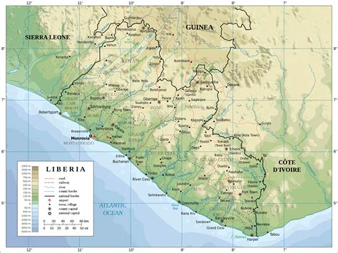 map of liberia liberia physical map mappery