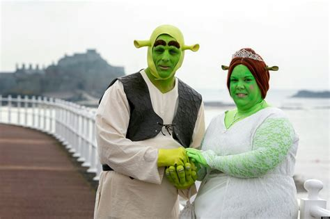 shrek wedding dresses as princess fiona and shrek for their trip the aisle