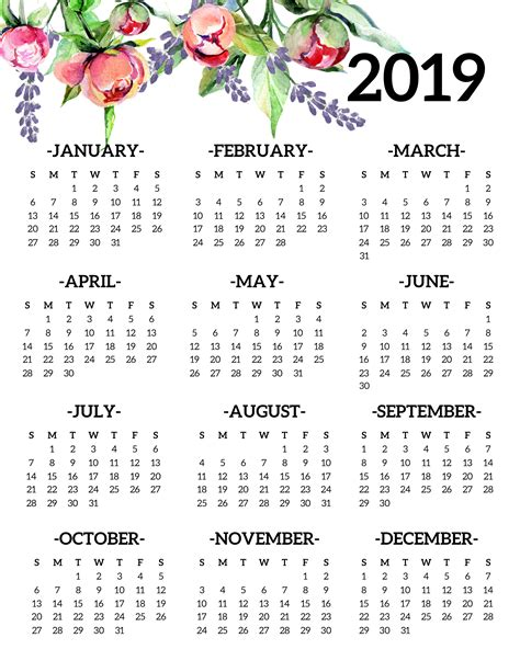 printable  calendar yearly  page floral