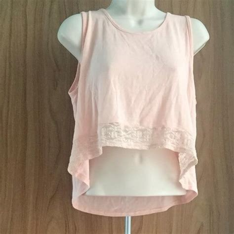 light pink crop top with lace at the bottom l from s