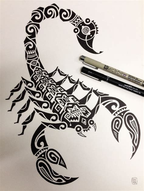 tribal tattoo body scorpion maori drawing black white
