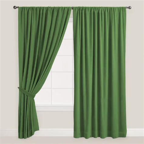 curtain green dark green velvet dual tab top curtain world market