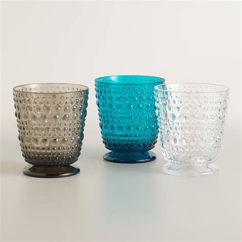 acrylic barware acrylic footed hobnail glassware collection world market