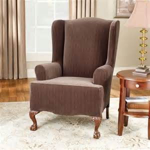stretch pinstripe wing chair cover at brookstone buy now