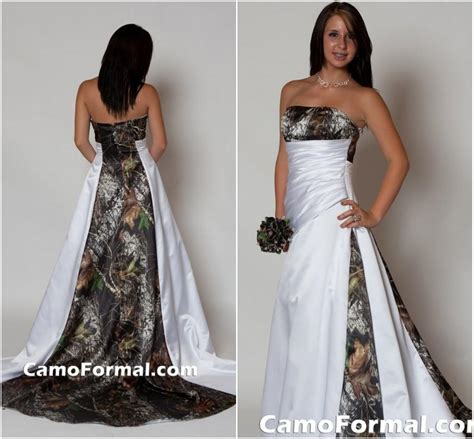 2015 Strapless Camo Wedding Dress with Pleats Empire Waist A Line Sweep Train Realtree