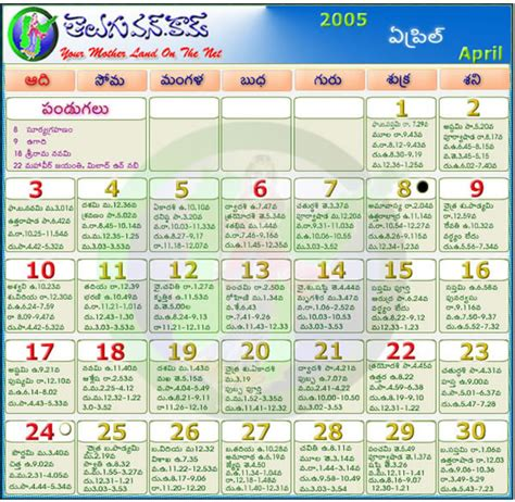 April 2005 Calendar Telugu Calendar 2012 Telugu Calendar 2011 Telugu