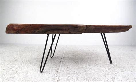 rustic modern free edge tree slab coffee table on hairpin