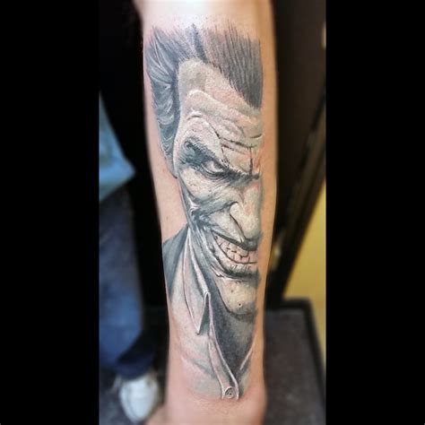 black and grey joker tattoo marc tice owner and tattoo artist 13thhourtattoos com