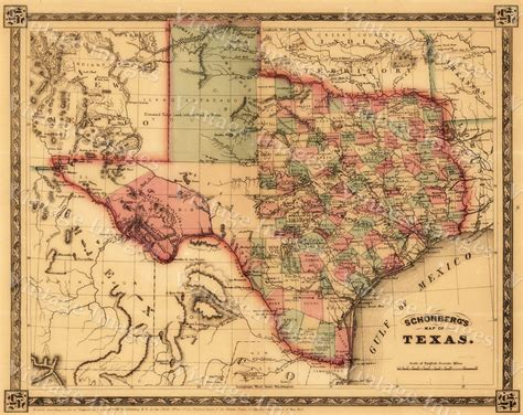 western texas map 1866 texas west map antique restoration hardware style wall map print poster