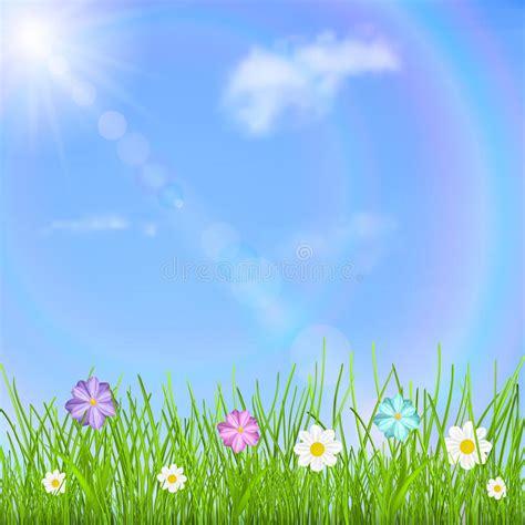 bloemen en wolken achtergrond met hemel zon wolken regenboog gras en