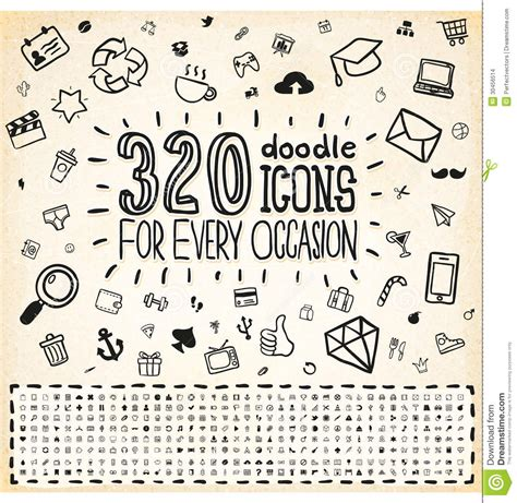 doodle icons free vectors 100 doodle icons universal set vector illustration