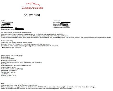 Autoverkauf Versicherung by Auto Verkauf H 228 Ndler Macht Falsche Vertragsangaben Und