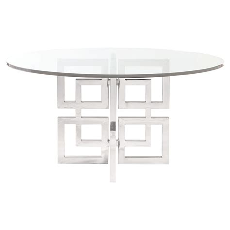 Stainless Steel Glass Dining Table Mercer Glass Stainless Steel Dining Table Kathy Kuo Home