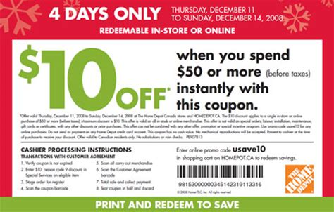 home depot coupon 10 50 in store or