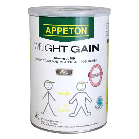 Appeton Weight Gain Kardus appeton weight gain milk for children 3 to 12 years 450gr