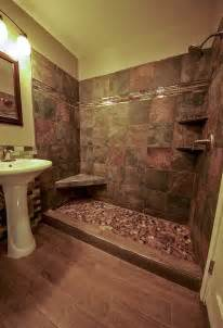 river rock shower and wood grained tile floor bathroom remodel daly designs decorating ideas design trends