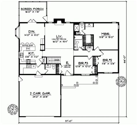 Ranch Style House Plans 1733 Square Foot Home 1 Story Ranch House Plans No Garage Three Bedrooms