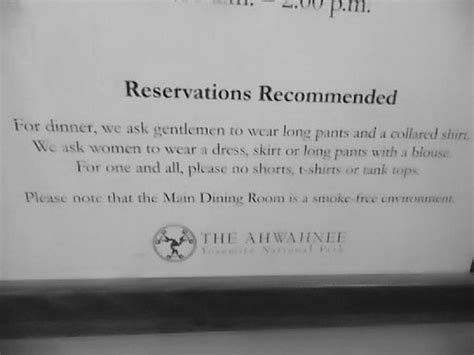 Ahwahnee Dining Room Dress Code by Dress Code For Dinner