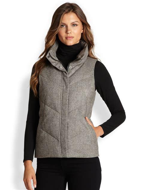 Vest Grey eileen fisher tweed puffer vest in gray lyst