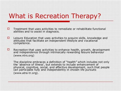 what is a therapy recreation therapy