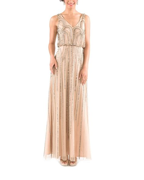 taupe beaded dress papell sleeveless blouson gown with nouveau