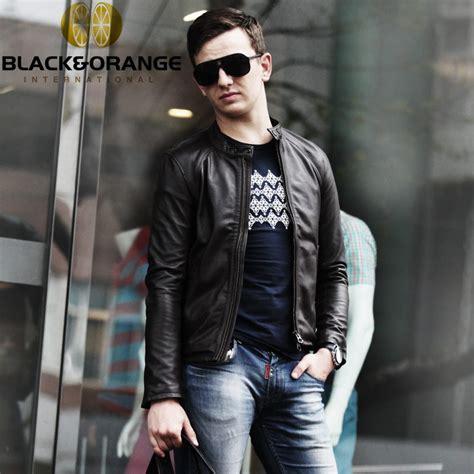 Style Korea Leather Jaket 52 slim fit leather biker jacket soft sheepskin solid leather coat korean japanese