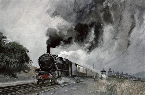 painting trains steam at garsdale cumbria painting by cooke