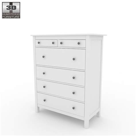 hemnes chest of 6 drawers 3d model humster3d
