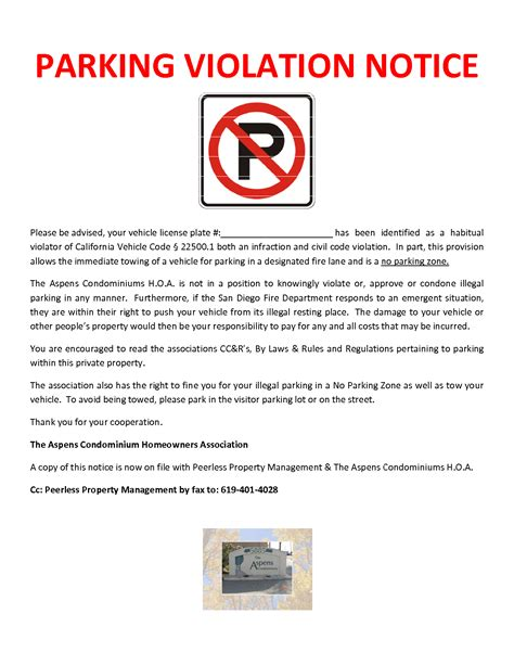 Parking Violation Template Free Download Printables Redefined Parking Warning Notice Template
