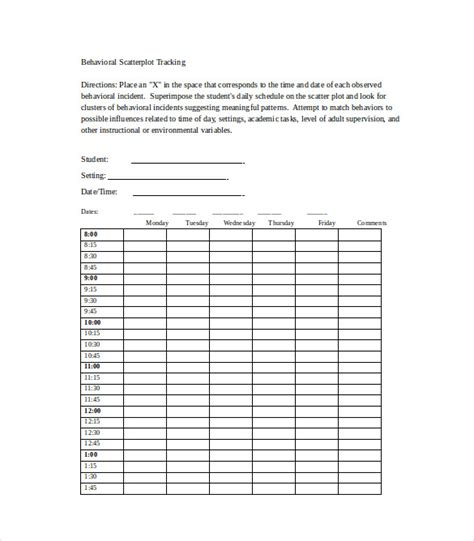 Scatter Plot Template 10 behavior tracking templates free sle exle