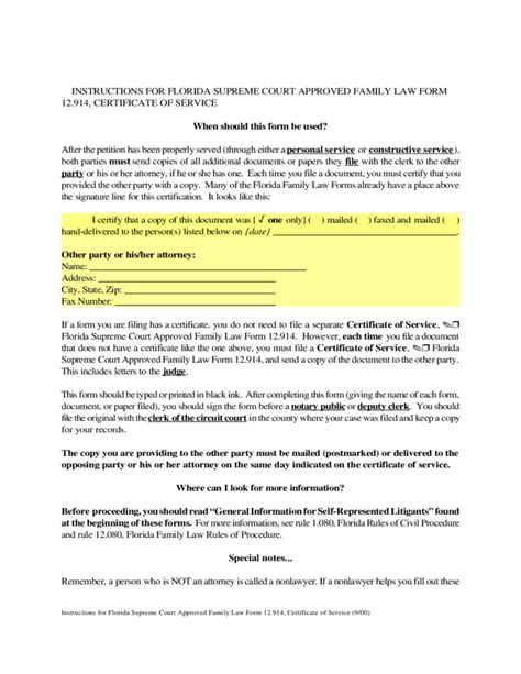 service florida certificate of service florida free