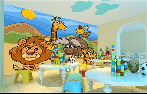 Sofa Anak Kartun kustom 3d foto wallpaper kamar anak mural kartun hewan