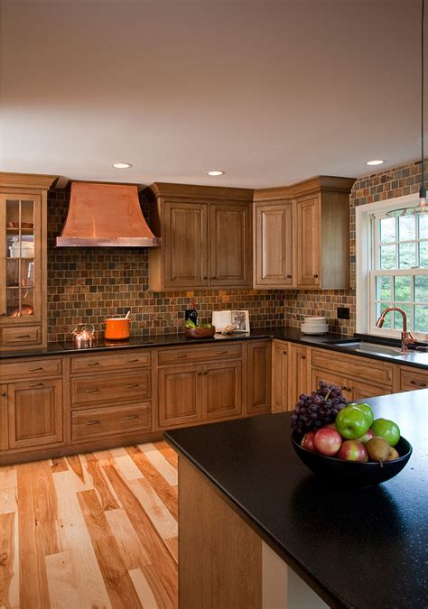 hickory floors with white cabinets rustic kitchens designs remodeling htrenovations