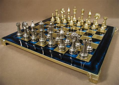 metal chess set 4 quot blue enamel brass metal chess set