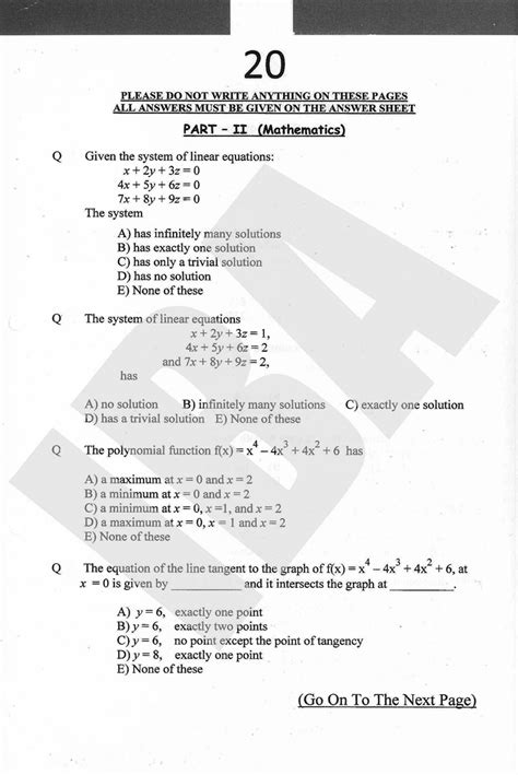 Mba 20 Test by Mba Maths Past Entry Test