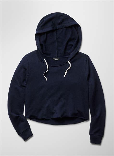 Sweater Hoodie Top womens crop top hoodie wholesale navy blue blank cropped pullover hoodie crop top s