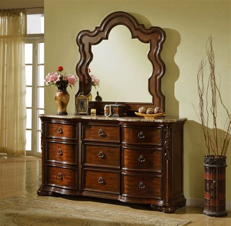 Brown Dresser With Mirror by Imperial Traditional Beveled Dresser Mirror With