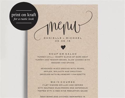 free printable menu card template 37 wedding menu template free sle exle format